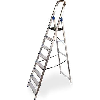 Escalera domestica de aluminio Altipesa (Aluminio, 8 PELDAÑOS): Amazon.es: Bricolaje y herramientas