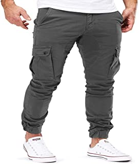 Pantalones de Trabajo al Aire Libre para Hombre Pantalones de Combate de Carga Lona elástica con Bolsillos Laterales con c...