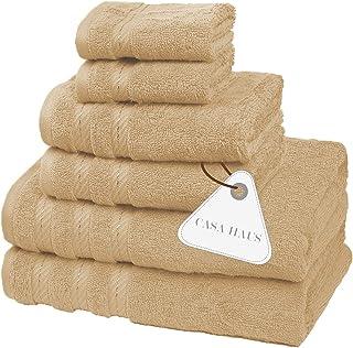 Casa Haus 6 Pieces Air Twist Premium Cotton Towel Set 600 GSM Eco-Friendly, Super Soft, Plush Bath Towels - Oeko-Tex Certi...