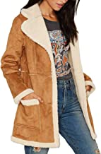 Gameyly Women's Faux Suede Shearling Long Coat Outfit