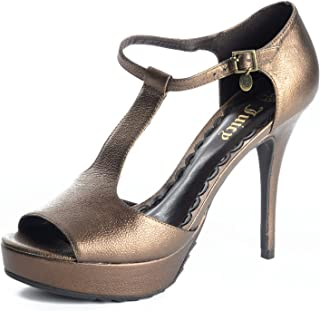 Juicy Couture Women's Mischa T-Strap Platform Peep Toe Heeled Sandals in Bronze, 7.5 M