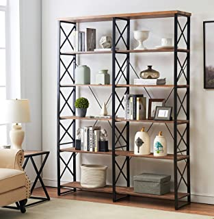 "O&K FURNITURE 80.7"" Double Wide 6-Shelf Bookcase, Industrial Large Open Metal.."