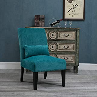 HomeSailing Living Room Accent Occasional Chairs Teal Blue for Bedroom Comfy Armless Fabric Velvet Upholstered High Back Recliner Chairs for Spare Room Furniture Leisure Chair (Single Teal Blue)
