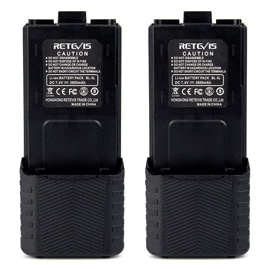Retevis BL-5L 3800mAH 7.4V Extended Replacement Battery 2 Way Radio Rechargeable Battery for Walkie Talkies Compatible with Baofeng UV-5R RT-5R RT-5RV TYT TH-F8 Two Way Radio(2 Pack)