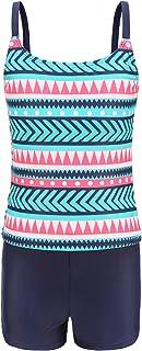 Girls Two Piece Tankini Swimsuits UPF 50+ Bathing Suit with Boyshort for Kids Swimwear Set