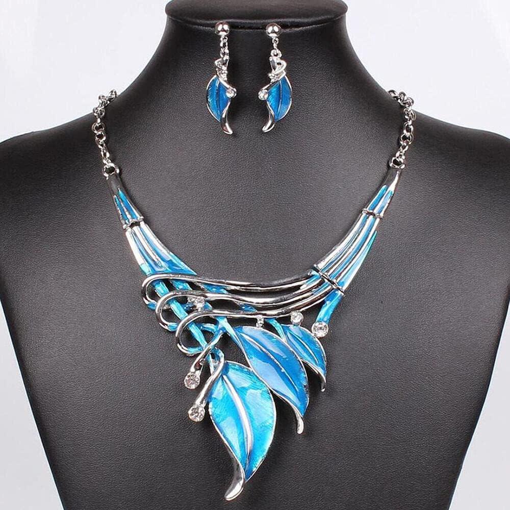 Womens Lady Enamel Metal Leaf Necklace Bib Choker Chunky Statement Pendant Chain - Lake Blue