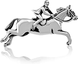 925 Sterling Silver Jumping Horse Horseshoe Equestrian Brooch Pin