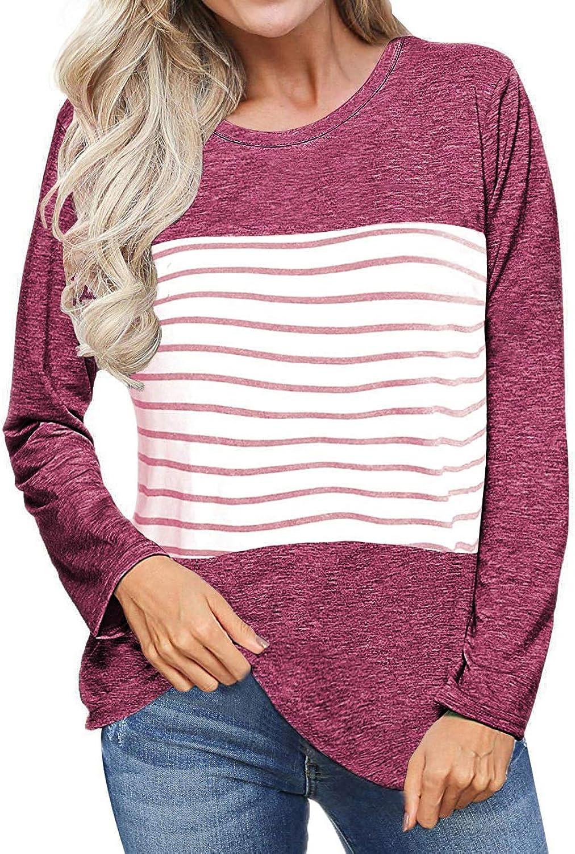 SEHOO Women's Crew Neck Striped Shirt color Block Long Sleeve Blouse Knit Top