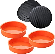 A Baker and Cook 3 Piece Round Silicone 18.42 x 3.81 cms (7 ¼ x 1.5 in) Cake Mold Baking Pan Set, Includes 5 Laminated Gre...