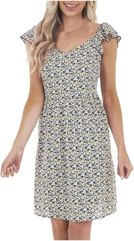 Summer Dresses Women's Dress Printed Ruffled Round Neck Dress Loose Small Fresh Short Dress Maxi Dress Sundress Plus si