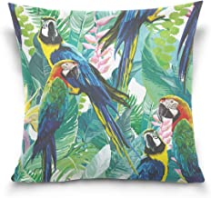 """MASSIKOA Colorful Parrots and Exotic Flowers Decorative Throw Pillow Case Square Cushion Cover 16"""" x 16"""" for Couch, Bed, S..."""