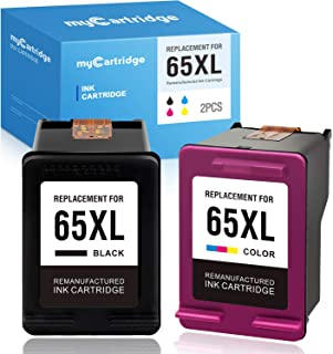 myCartridge Remanufactured Ink Cartridge Replacement for Hp 65 Ink 65 XL 65XL (1 Black, 1 Tri-Color) Deskjet 3755 2652 2655 2600 3752 2622 Envy 5055 5052 (with New Chips)