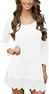 MiYang Women's Long Sleeve A-line Lace Stitching Trim Casual Dress