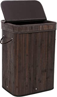 SONGMICS Bamboo Laundry Hamper Storage Basket Foldable Dirty Clothes Hamper with Lid Handles and Removable Liner Rectangular Dark Brown ULCB10B