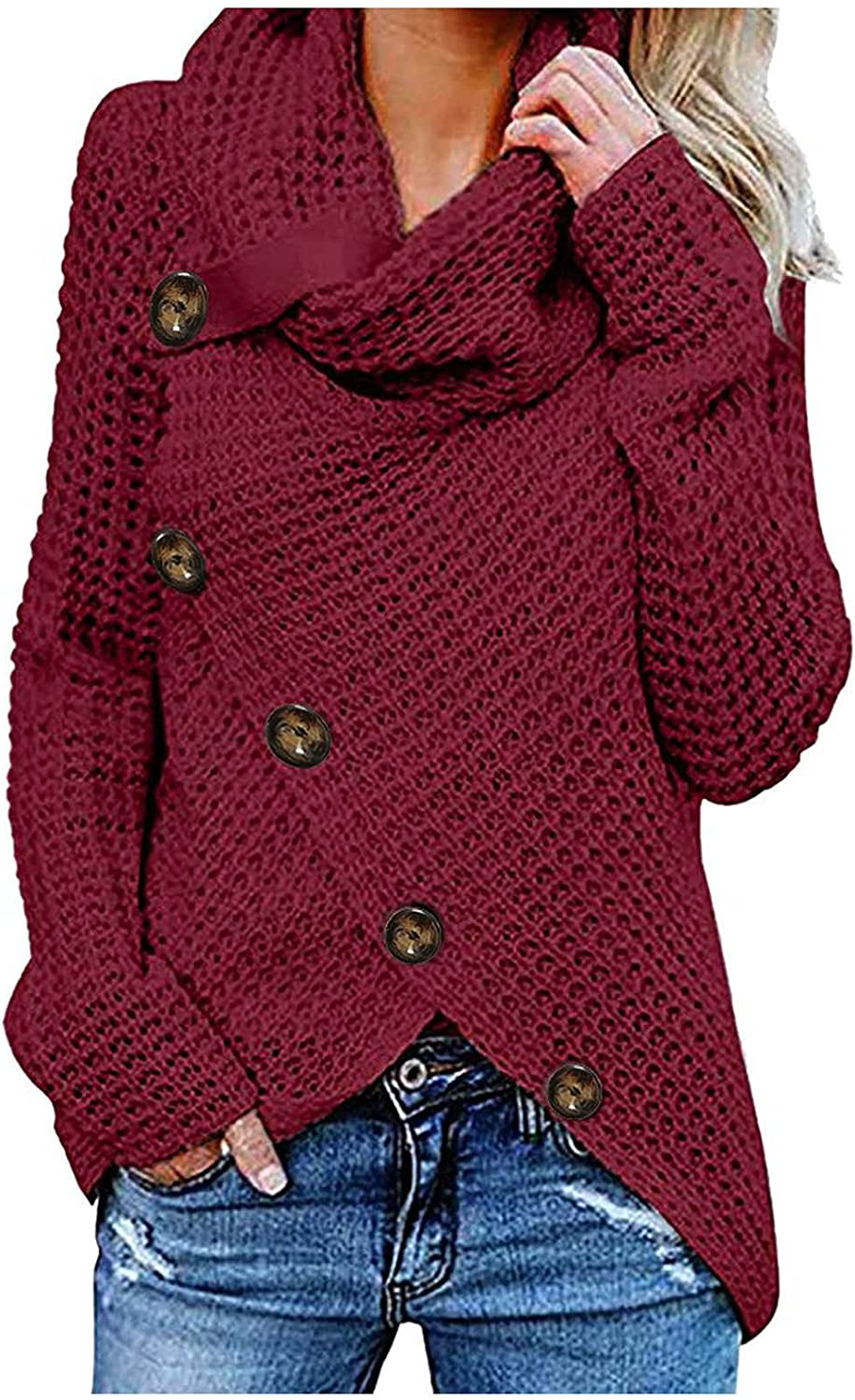 Womens Button Turtle Cowl Neck Sweaters Asymmetric Front Wrap Slit Hem Long Sleeve Chunky Turtleneck Pullover Jumper Blouse