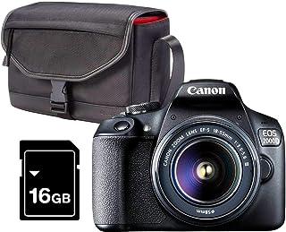 Canon EOS 2000D Kit Cámara Réflex 24.1MP WiFi NFC + Objetivo EF-S18-55mm + Bolsa + SD 16GB Negro