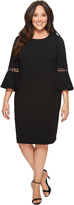 Calvin Klein Plus - Plus Size Crepe Bell Sleeve Dress w/ Lattice
