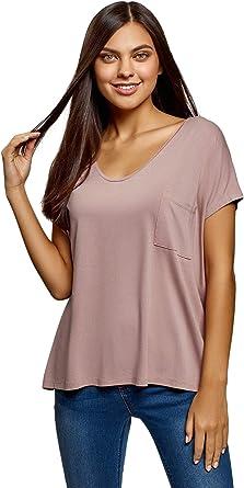 oodji Ultra Mujer Camiseta Holgada de Viscosa