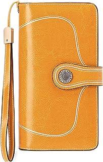 TZL Women's RFID Blocking Wallet Large Capacity Luxury Leather Purse Passport Travel Wallet Ladies Wine Red Clutch Purse (...