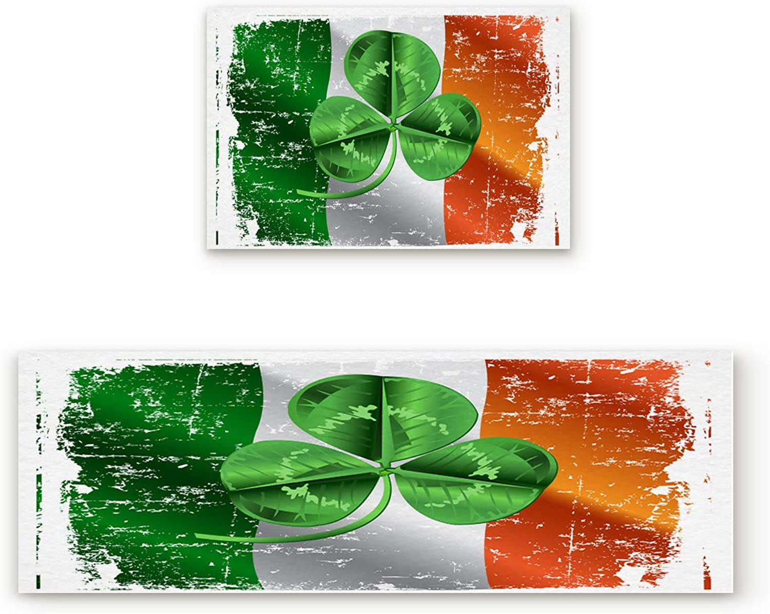Aomike 2 Piece Non-Slip Kitchen Mat Rubber Backing Doormat Vintage Ireland Flag and Shamrock Pattern Runner Rug Set, Hallway Living Room Balcony Bathroom Carpet Sets (19.7  x 31.5 +19.7  x 63 )