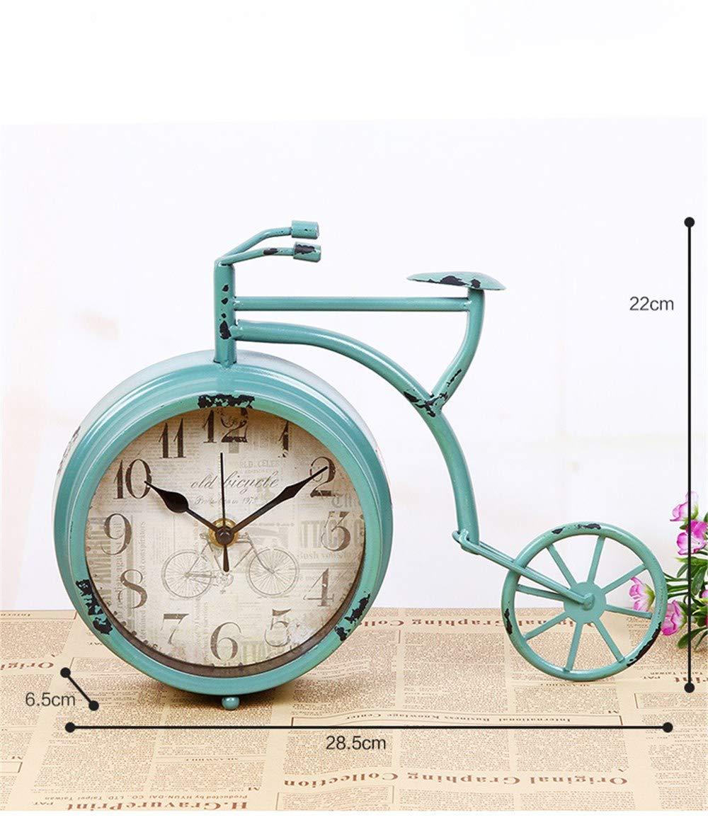 Reloj despertador digital Reloj de mesa para el dormitorio, reloj de bicicleta de un solo lado pintado vintage, reloj silencioso bicicleta rueda grande - blanco: Amazon.es: Hogar