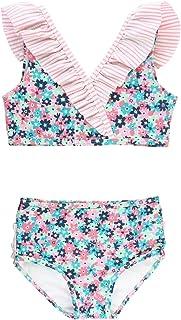 RuffleButts Girls Cropped Peplum Tankini 2 Piece Swimsuit w/Ruffles