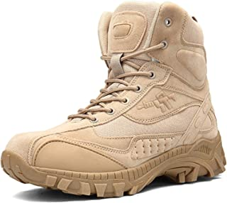 Baifeng Men Cool Boots,Men Steel Toe Boots Outdoor Slip Resistant Hiking Ankle Desert Boots Shoes