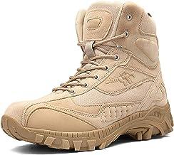 Dheera Botas de bico de aço para uso ao ar livre, antiderrapantes, botas de cano curto, botas de segurança com zíper later...