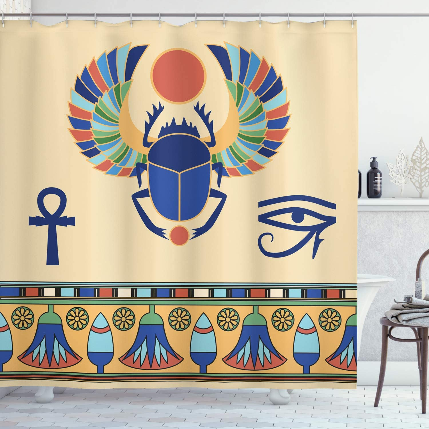Ambesonne Egyptian Print Shower Antique Max 50% OFF Cult Curtain Historical New arrival