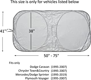 Windshield Sun Shade for Chrysler Town and Country (1995-2007) Dodge Caravan (1995-2007) Sprinter (1995-2019) Commercial Van