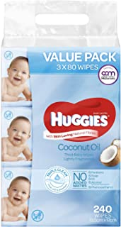 Huggies Baby Wipes Lightly Fragranced Coconut Oil Value Bundle Pack (3x80 Pack)