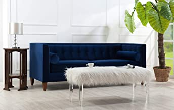 Jennifer Taylor Home Jack Collection Modern Velvet Upholstered Tufted Square Back Sofa with 2 Bolster Pillows and Hand Finished Legs, Navy Blue