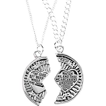 The Mizpah Coin Sterling Silver 18 and 24 Inch Silver Plated Pendant Necklace Set of 2