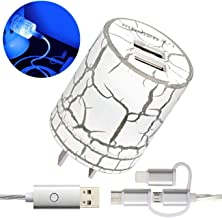 momen USB Wall Charger, Fast Charger with 3 in 1 Led Charging Cable, for iPhone 6 6s 7 8 X XS, iPad, Samsung Galaxy S7 S8 S9, LG, HTC (Blue Light)