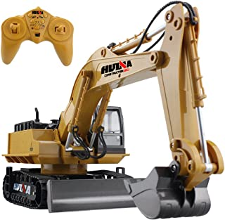 fisca Remote Control Excavator RC Construction Vehicle 11 Channel 2.4G Full Function Digger Toy Metal Shovel Simulation Sound and Flashing Lights