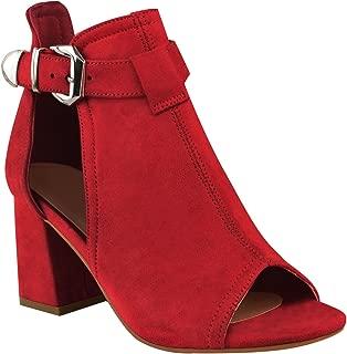 Best red open toe booties Reviews