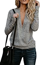 Sysea Womens Wrap Long Sleeve Knit Sweater Sexy Deep V Neck Pullover Cardigan Tops