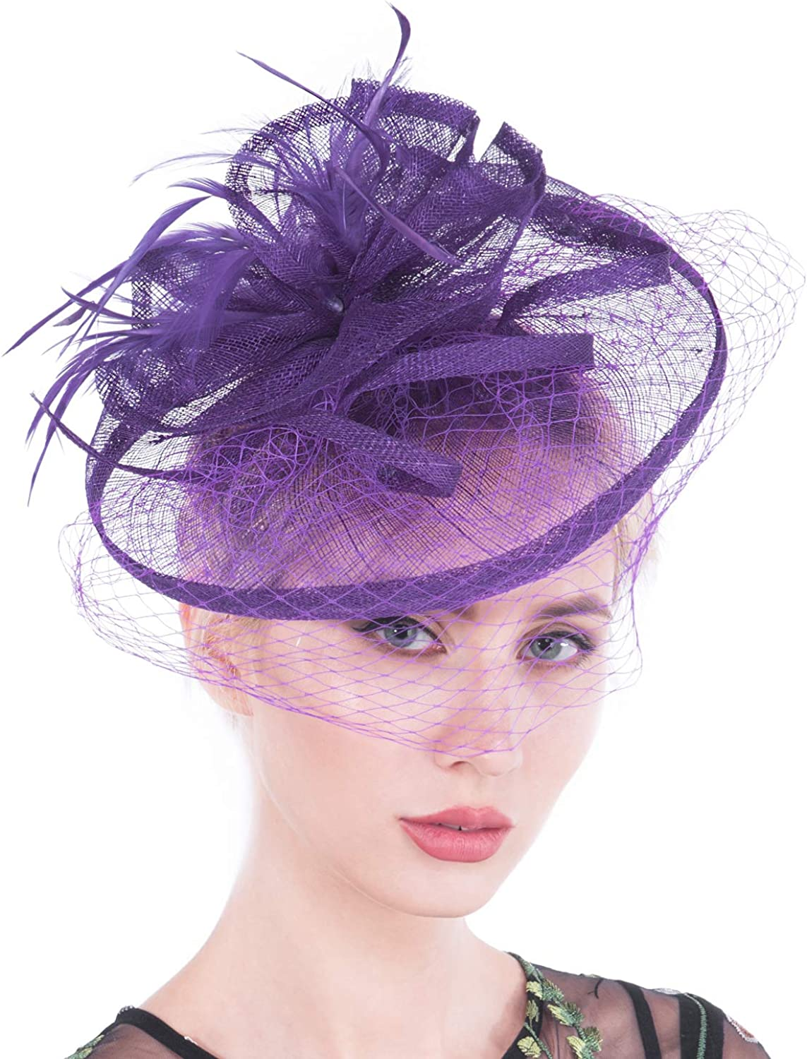 Fascinators for Women, Vintage Sinamay Fascinator Hats with Clip for Cocktail Wedding, Tea Party (06purple)