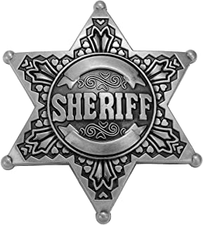 FALETO Sheriff Belt Buckle Western Cowboy Native American Motorcyclist Metal Alloy Belt Buckle