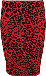 GUBA Ladies Printed Stretchy Pencil Bodycon Wiggle Midi Skirt