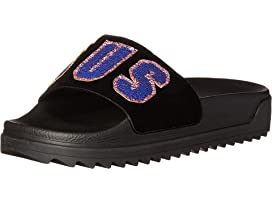 9f7eb143f33cd Versus Versace Footbed Sandal Rubber Sole H.20+Sequins Lettering Velluto