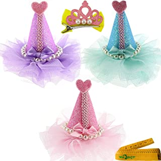 Wiz BBQT 3 Pcs Adorable Cute Cat Dog Pet Birthday Party Hat Shaped Hair Clips and 1 Pcs Crown Shaped Clip for Kitten Puppy Small Dogs Cats Pets