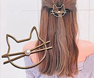 Leiothrix Hair Clip Golden Cat with Pearl for Women and Girls Apply to Party and Casual