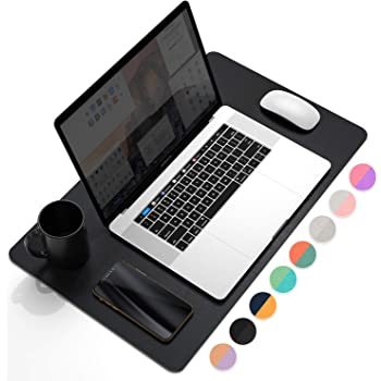 """YSAGi Multifunctional Office Desk Pad, 23.6"""" x 13.7"""" Ultra Thin Waterproof PU Leather Mouse Pad, Dual Use Desk Writing Mat for Office/Home (23.6"""" x 13.7"""", Black)"""