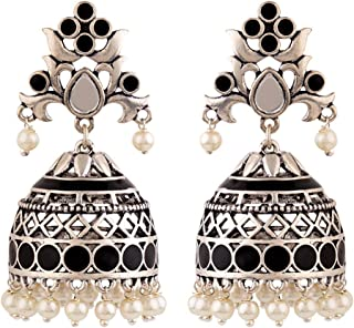 Voylla Jhumki Earrings for Women (Silver)(8907617887821)