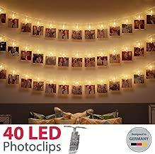 B.K.Licht LED Fotolichterkette Photoclips Clip Bilder Lichterkette 40 LEDs | Batterie betrieben