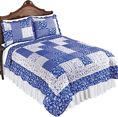 1deb8f31b3 Collections Etc Cottage Escape Blue Stripes and Floral Patchwork Quilt with  Scalloped Edges - Seasonal Décor