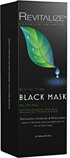 REVITALIZE Plant Formulated Blackhead Remover Mask, Charcoal Peel Off Mask With Aloe Vera + Avocado Oil + Vitamin C - All Skin Types - Pore Cleansing + Acne Treatment