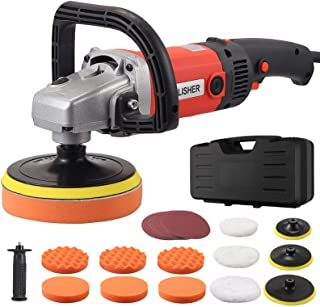JUSTOOL Buffer Polisher1400W, 8 Variable Speed, 7/6/5Inch RO Rotary Polisher Car Polisher Electric Polisher with Foam/Wool Pads, Sandpaper,Polishing Pads Set for Auto Buffing and Polishing