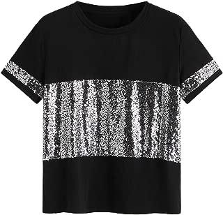 ROMWE Women's Sequin Shinny Top Short Sleeve Party Club Tee Shirts
